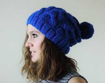 Cobalt Blue (or Choose Color) Hand Knitted Beanie, Slouchy Beanie, Cable Knit Hat, Pom Pom Beanie, Mens Wool Hat, Womens Cabled Beanie