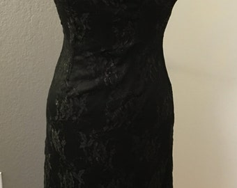 Black Strapless Gown - Lace shimmering overlay - back zipper entry - Size 2