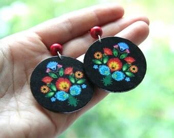 Polish folk earrings, flower earrings, cutout earrings, polish earrings, polish dangle earrings, bohemian earrings, boho, folk jewelry