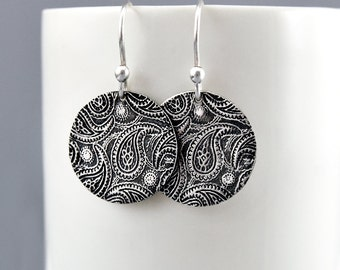 Paisley Earrings Dangle Earrings Silver Circle Retro Silver Paisley Silver Earrings Bohemian Jewelry Rustic Jewelry Gift for Her-Under 50