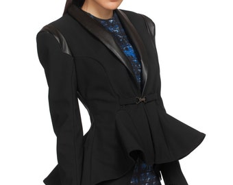 Womens Blazer, Black Blazer Jacket, Fitted Womens Jacket, Peplum Top, Formal Jacket, High Fashion Jacket, Fashion Blazer