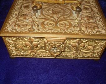 Art Nouveau German Bronze Box with original key