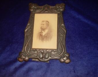 Art Nouveau Copper Photo Frame for Cabinet Photos