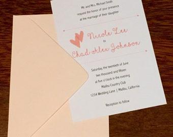 Wedding Invite Arrows and Hearts