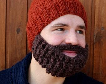 Men's snowboard, ski mask and beanie | Funny knitted beard and hat, face warmer | Crochet mustache, fake beard | Gift idea