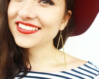 Geometric Brass Tube Earrings • Triangle Earrings • Minimalist Earrings • Big Earrings • Statement Earrings • Brass Earrings • UK Earrings