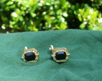 Faux Gold, Diamond and Onyx Earrings Vintage Faux Gold Earrings Vintage Costume Jewelry 1960's