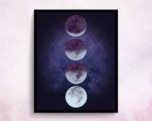Moon Phases Print Moon Print Moon Moon Poster Moon Phases Wall Art Big Poster Witchy Decor Purple Print Teen Girl Room Decor Purple Wall Art