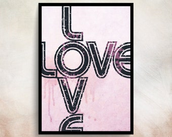 Love Typography Love Print Love Poster Pink Print Love Sign Typhography Print Love Pink Typhography Quote Typography Poster Typography Art