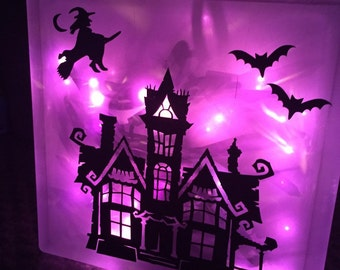 Halloween Glass Etsy - Halloween vinyl decals for glass blocks