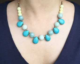 Turquoise Statement Necklace, Bib Necklace, Gemstone Necklace, Teal and Yellow Necklace