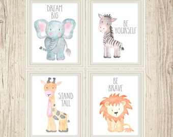Safari Nursery Decor, Safari Nursery Wall Art, Nursery Print Set, Nursery Set, Baby Animal Paintings, Jungle Animals, Nursery Animal Art