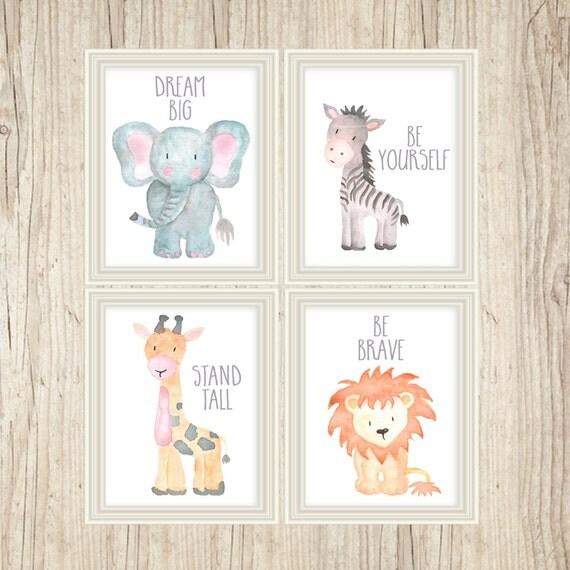 Safari Nursery Decor, Safari Nursery Wall Art, Nursery Print Set, Nursery Set, Baby Animal Paintings, Jungle Animals, Nursery Animal Art