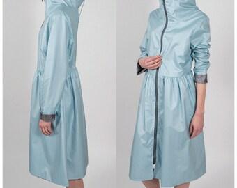 Blue dress-shaped raincoat