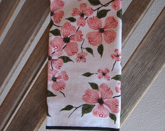 Vintage Linen Dogwood Tea Towel, Vintage Kitchen Towel