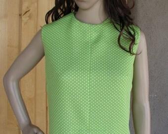 Vintage Lime Green Polka Dot Shift Dress, 1960s Dress, Summer Dress