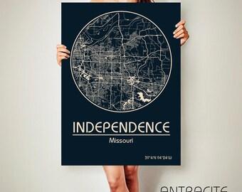 INDEPENDENCE Missouri CANVAS Map Independence Missouri Poster City Map Independence Missouri Art Print Independence Missouri