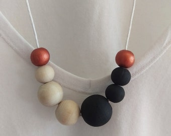 Matte About You Wooden Bead Necklace // Hemp Cord // Handmade
