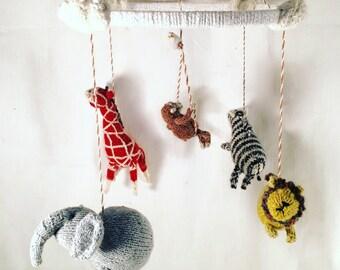 Safari Animal Mobile - Handknit Baby Gift, Eco Nursery Decor, Knitted African Animals