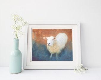 Sheep painting Giclee print Original animal painting Modern farmhouse Home décor Wall art Wall décor Wall hanging