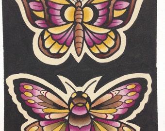 Moth Original Watercolor Painting on Board