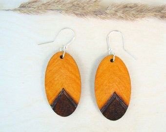 wooden earrings, natural earrings, long earrings, woodburned earrings, pyrography earrings, plywood earrings, ecologic earrings