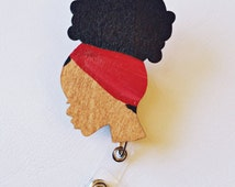 ID BADGE REEL Retractable Holder Hand Painted Red Afro Wood Flowers Fun Nurse Doctor Hospital Work Office Gift African American