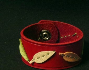 Red Leather Bracelet Leather Cuff Leather Wristband with Hand Sewn Pastel Leather Leaves