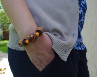 Agate bracelet bead bracelet boho jewelry energy bracelet bronze jewelry Embroidered jewelry autumn bracelet nature jewelry gift for women