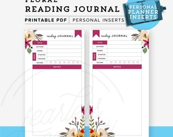 Reading Journal Printable, Personal Planner Printable, Personal planner inserts, Reading Log Printable, Personal Printable INSTANT DOWNLOAD