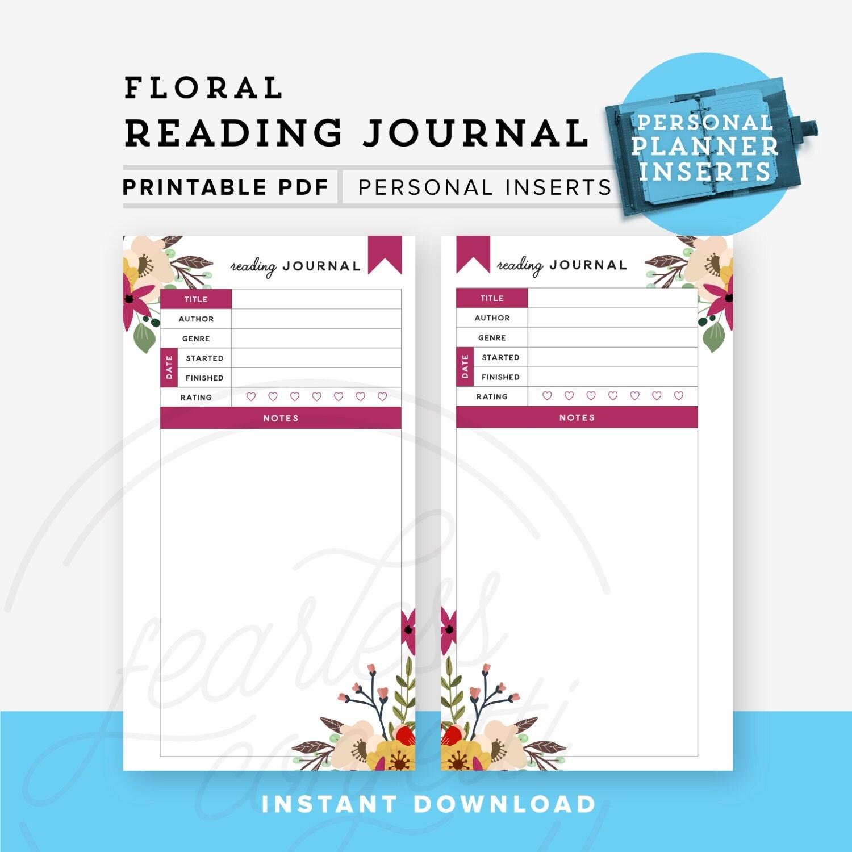 Reading Journal Printable Personal Planner Printable