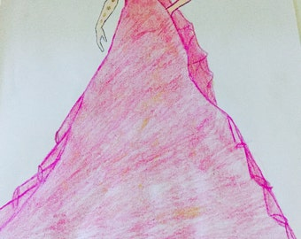 Masquerade-fashion sketch-wall print-fashion girl-illustration-digital file