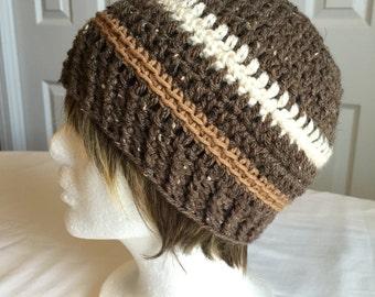 Brown crochet hat w/ cream and caramel stripes