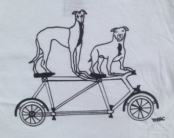 Bike Tee Shirt- Pit Bull Tee Shirt- Greyhound Tee Shirt- Dog Tee Shirt- Children's Gift- Dog Rescue- Woman's Tee- Hand Drawn