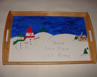 Hand Painted Winter Snowman Serving Tray
