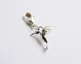Sterling silver hummingbird charm with lobster clasp/bolt for charm bracelets or necklaces - clip-on flying bird, 3D, nature, free spirit