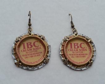 Upcycled IBC Cream Soda Bottle Cap Earrings with turtle back bezels