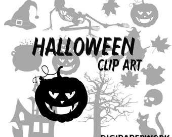 Halloween ClipArt Silhouettes Digital halloween decoration pumpkin skull bats for personal and commercial use