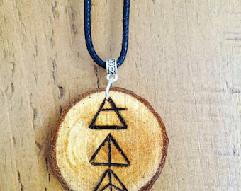 Mind Body Soul woodslice necklace *boho* *travel* *adventure*