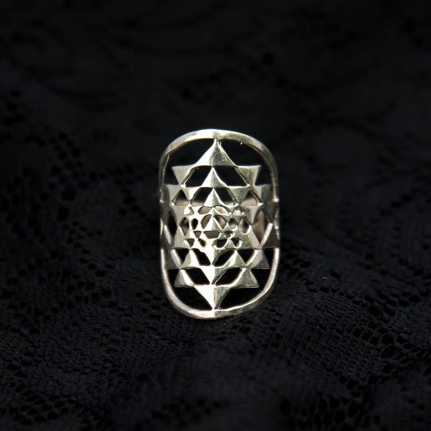 925 SRI YANTRA RING Silver Sacred Geometry Shree Yantra