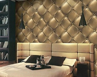 GOLD textured faux leather wallpaper
