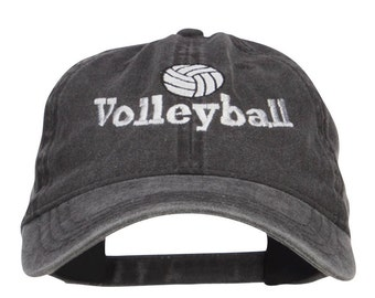 Volleyball Embroidered Washed Buckle Cap