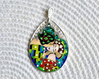 Cloisonne Enamel Necklace - 'The Kiss' Gustav Klimt