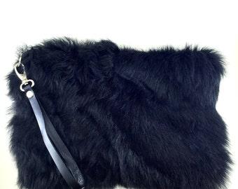 Genuine Fur Clutch Bag with leather wrist strap,valentine's day gift,Black Fur Clutch,Black Clutch Purse,Luxury Clutch,Zippered Clutch
