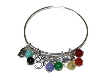 Chakra Bangle Adjustable Bangle Chakra Bracelet Ohm Bracelet Meditation Gift Yoga Bracelet Chakra Jewelry Chakra Jewelry Charm Bracelet