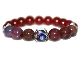 Red Ruby Bracelet Tourmaline Agate Healing Jewelry Mala Bead Spiritual Gifts Wedding Gift for Her Mother Gift Beaded Bracelet Women Jewelry