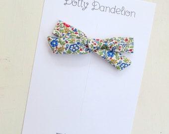 Floral Hair Bow, Liberty Bow, Girls Hair Clip, Toddler Hair Clips