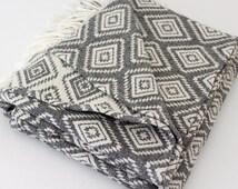 "Geometric Picnic Blanket | Sofa Chair Throw Wrap | Boho Beach Blanket | Grey Navajo Diamond Plaid 51""x67"" | Organic Cotton | Gift for couple"