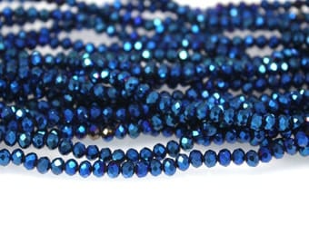 150pcs Crystal Glass Rondelle Faceted beads 3x4mm
