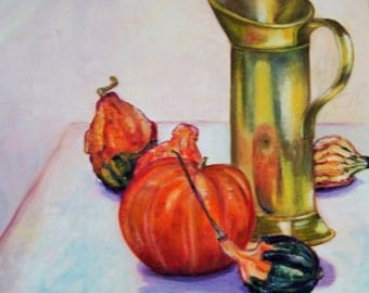 "PAINTING, oil on canvas ""Gourds"""